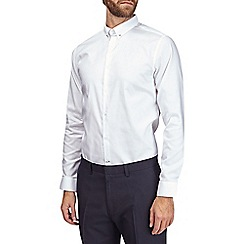 Burton - White slim fit pin collar cotton shirt