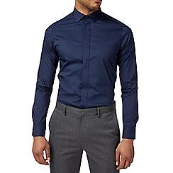 Burton - Navy stretch skinny fit cotton shirt