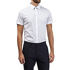 Burton - White slim fit cotton short sleeve shirt