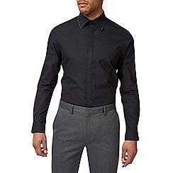 Burton - Black slim fit spot tipped textured shirt