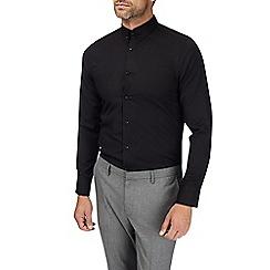 Burton - Black skinny fit textured pin collar shirt