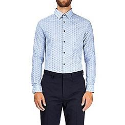 Burton - White skinny fit linear printed cotton shirt