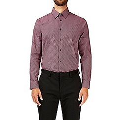 Burton - Burgundy diamond print tailored fit cotton shirt