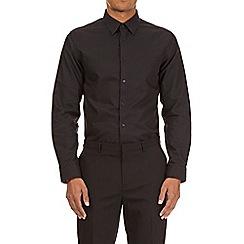 Burton - Black slim fit cotton diamond dobby shirt