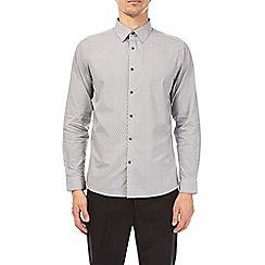 Burton - Grey tailored fit cotton monochrome print shirt