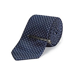 Burton - Tailored navy geo tie & clip