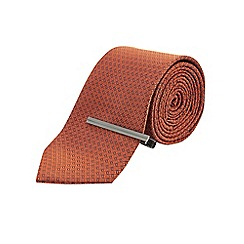 Burton - Tailored oranage tie & clip