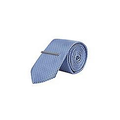 Burton - Pale blue geometric tie & clip