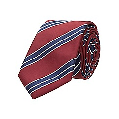 Burton - Slim burgundy navy stripe tie