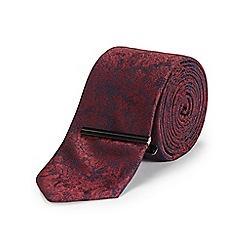 Burton - Slim burgundy floral tie & clip