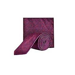 Burton - Burgundy floral tie & pocket square set