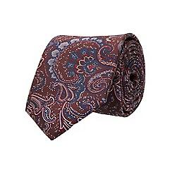 Burton - Tailored burgundy paisley tie