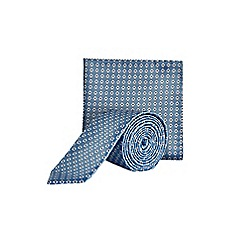 Burton - Blue geometric tie and pocket square set
