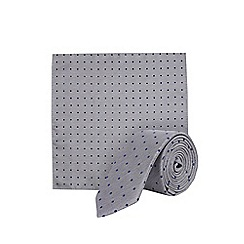 Burton - Grey polka dot print tie and pocket square set