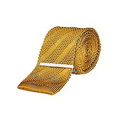 Burton - Slim gold knitted tie & clip