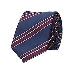 Burton - Slim navy purple stripe tie