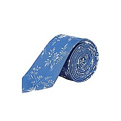 Burton - Slim blue floral tie