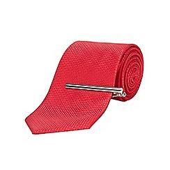 Burton - Tailored red textured clip tie
