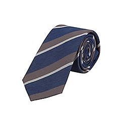 Burton - Slim navy club stripe tie