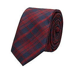 Burton - Slim navy burgundy check tie