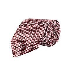 Burton - Tailored red woven pattern tie