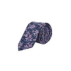 Burton - Blue, black and purple textured floral tie
