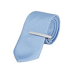 Burton - Slim light blue textured tie with clip