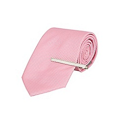 Burton - Tailored pink textured tie with clip