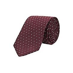 Burton - Burgundy dot tie with clip