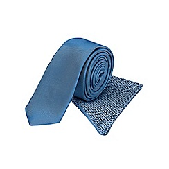 Burton - Slim blue pattern tie & pocket square set