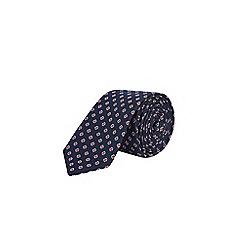 Burton - Navy floral print tie