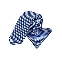Burton - Slim blue tie & pocket square set