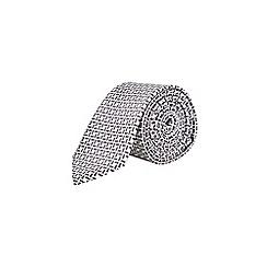 Burton - White and silver paisley print tie