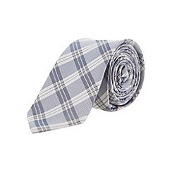 Burton - Blue check slim silk tie
