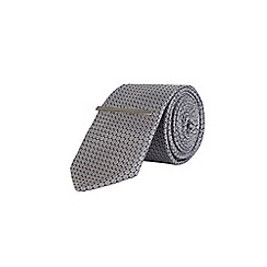 Burton - Grey small geometric print tie with clip