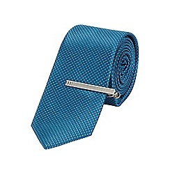 Burton - Slim teal textured tie