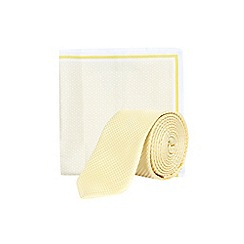 Burton - Lemon yellow texture tie and pocket square set