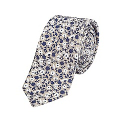Burton - Slim ecru floral tie
