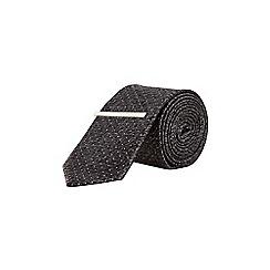 Burton - Charcoal spot design tie with clip