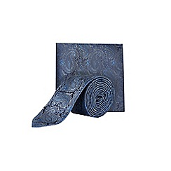 Burton - Navy paisley tie & pocket square set