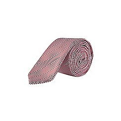 Burton - Red herringbone tie with clip