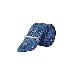 Burton - Cobalt paisley print tie with clip