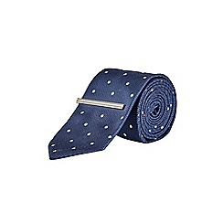 Burton - Navy spot tie with clip