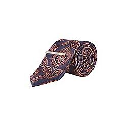 Burton - Montague burton 100% silk navy paisley tie