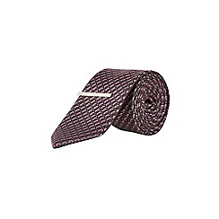 Burton - Montague burton 100% silk grey geometric tie