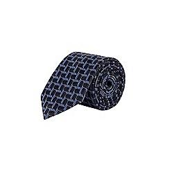 Burton - Navy Montague geometric print tie