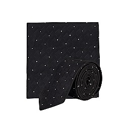 Burton - Black zig-zag tie and pocket square set