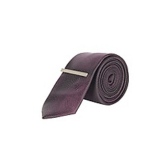 Burton - Black and magenta spiral tie with clip