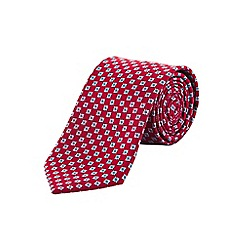 Burton - Tailored red geometric tie