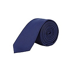 Burton - Navy blue slim plain tie